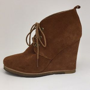 ef700c87d40 Brown Suede Steve Madden Lace Up Bootie Wedge 7